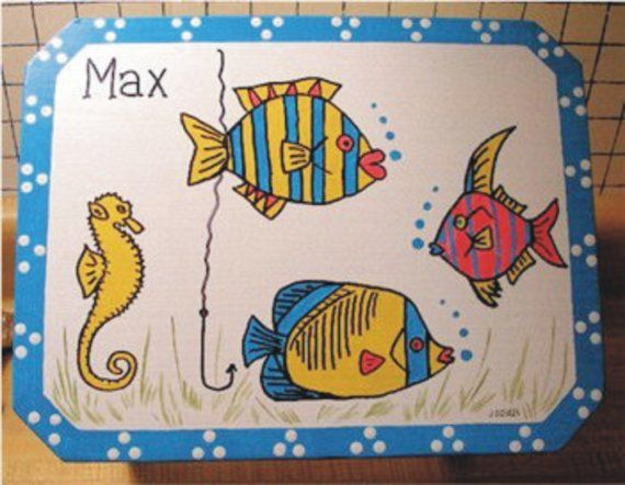 Tropical Fish Handcrafted and Hand Painted Step Stool