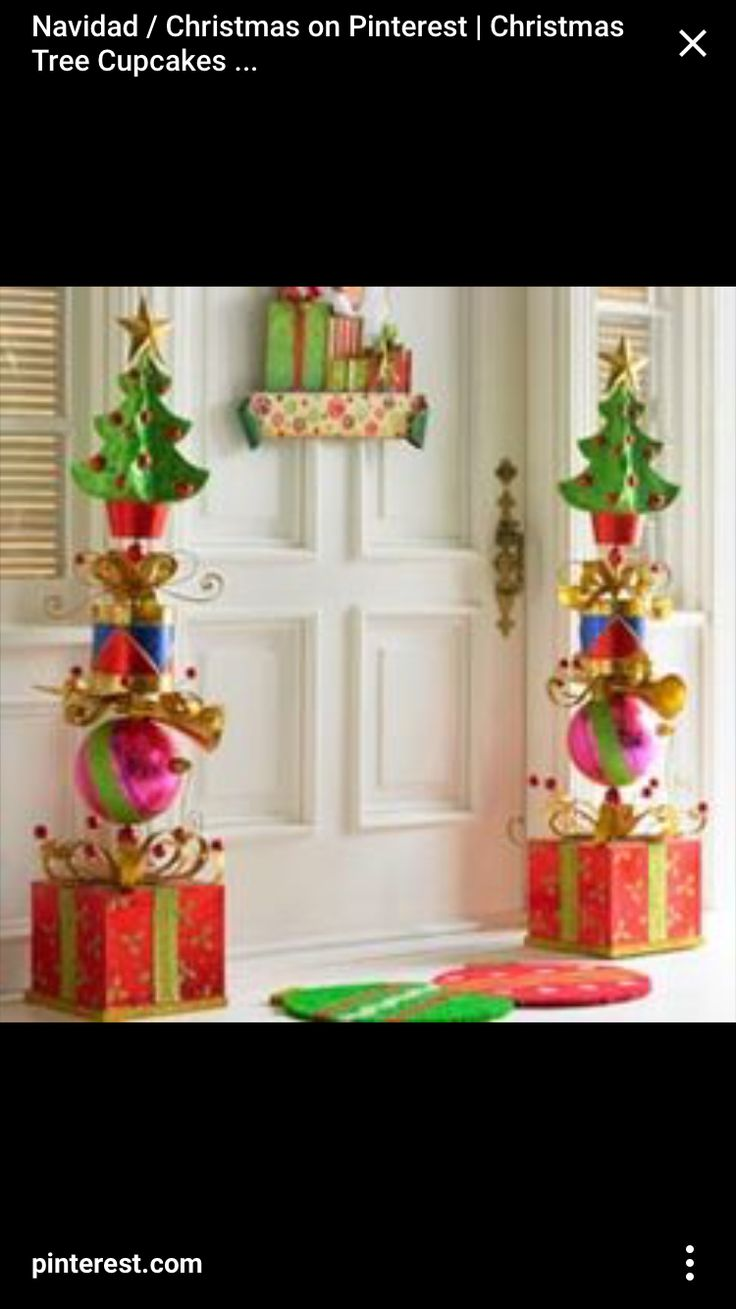 Stacked Glitter Presents Topiary Christmas Decor