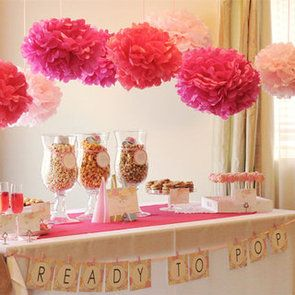 """Ready to Pop"" baby shower - decorate with tissue poms & serve sparkly rose champagne & Italian soda (for the preggo mama), kettle popcorn cookies, popcorn bar & cake pops."