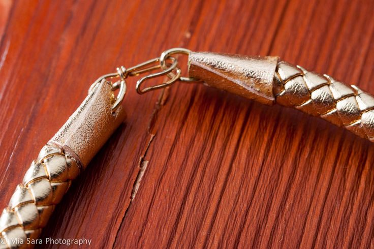 Gold Kangaroo leather offcut detail secures the repurposed gold safety pin clasp.