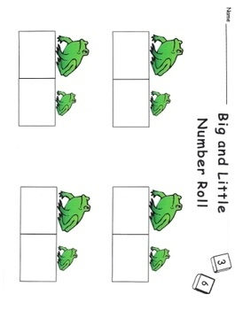 This dice game is a fun way to practice number skills with a frog theme. Students play alone or in pairs at a math center. Higher and lower numbers...