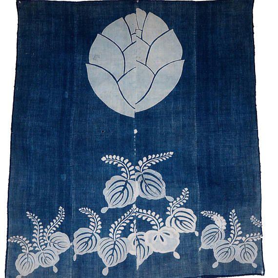 Fantastic Old Japanese Indigo Cotton Tsutsugaki Futon Cover