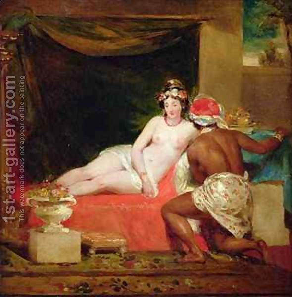 An odalisque with a slave in an interior by William James Muller