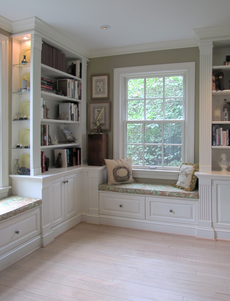 Painted Built-Ins..but with gray walls, and gray cushions.