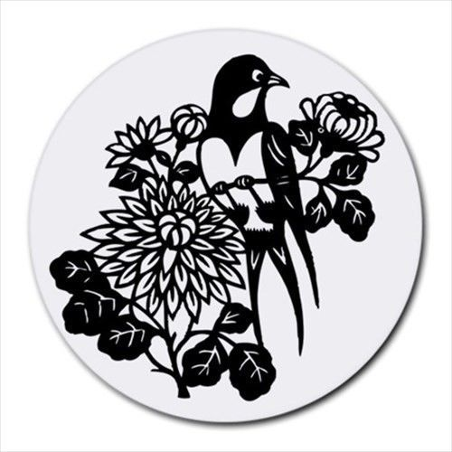 Bird Floral Flowers Round Computer Mouse Pad