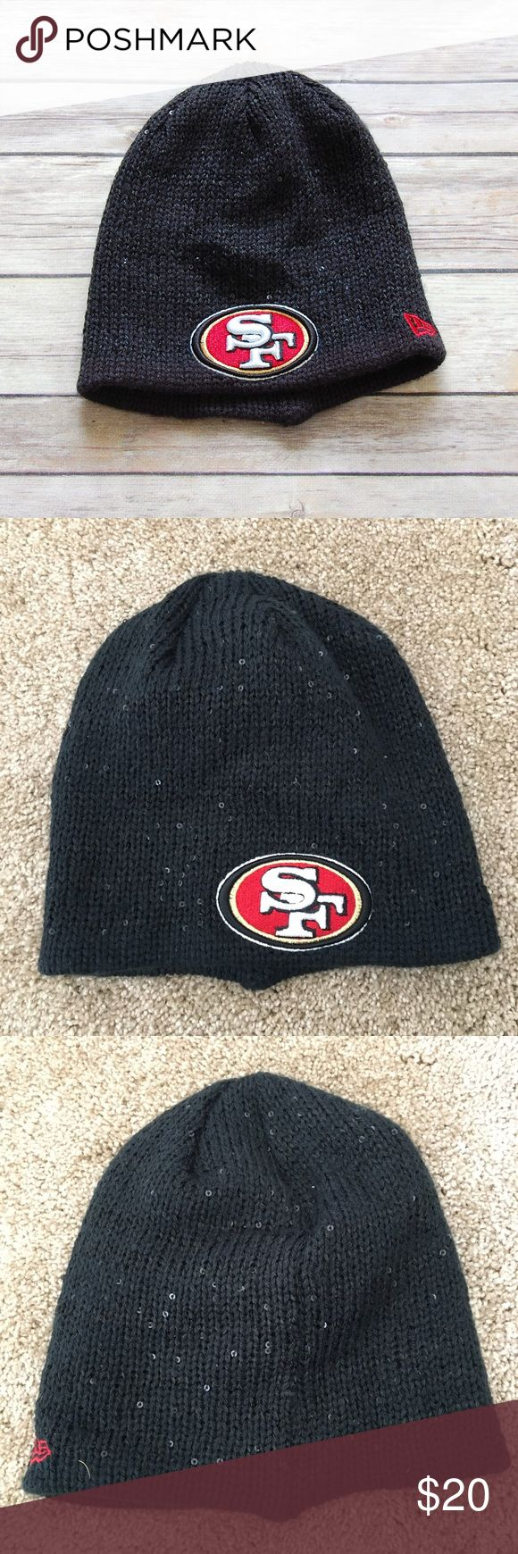 NEW ERA 'SF Niners' Beanie Practically new knit black and sequined beanie. Embroidered San Francisco 49ers logo. Official NFL gear. One size fits most.    Instagram: @bringingupsuns New Era Accessories Hats