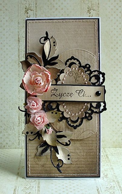 card with pink flowers and black die cuts on creamy card...