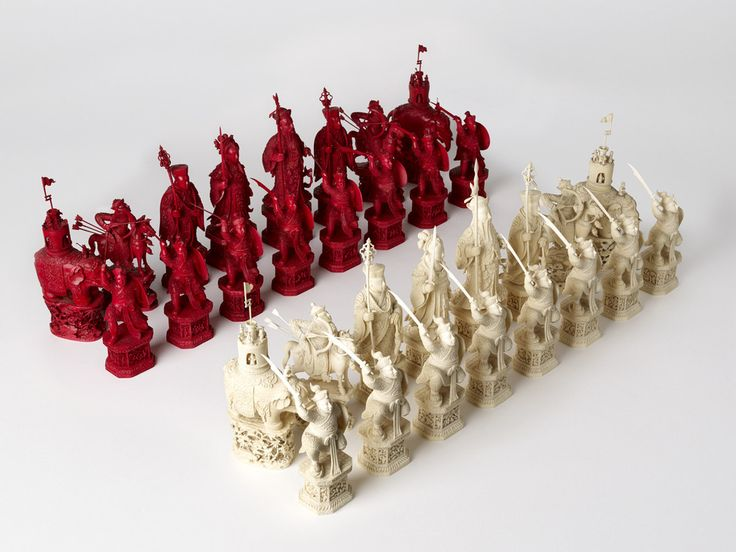 """An intricately carved ivory chess set, which has been called """"the most incomparable chess set in the world"""", created in China in the late 18th century."""
