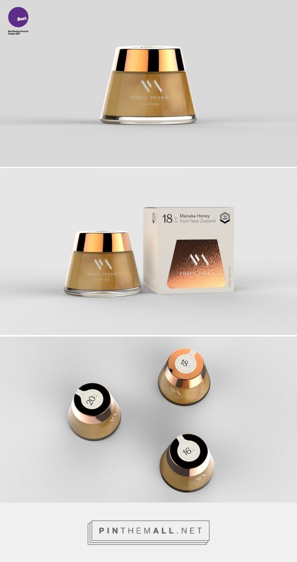 Three Peaks Honey packaging design by juice3D - http://www.packagingoftheworld.com/2017/10/three-peaks-honey.html