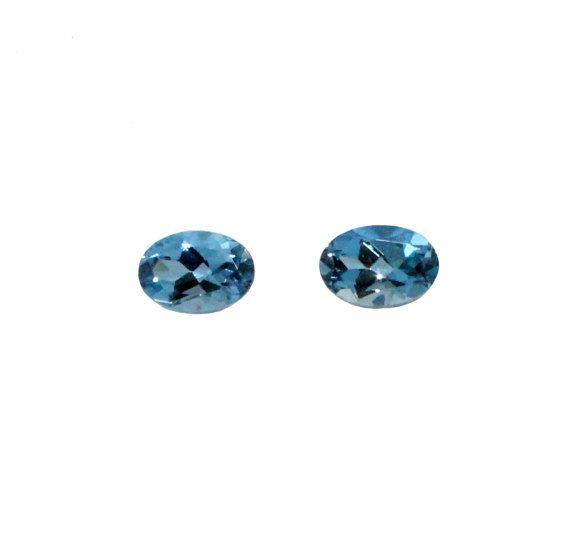 Aquamarine oval cut matched pair total 1.00 by SARAHHUGHESfinegems