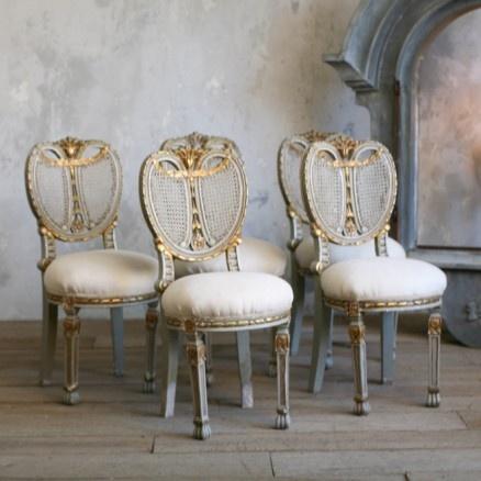 Vintage Set Of 5 Fabulous Vintage Ornate Chairs