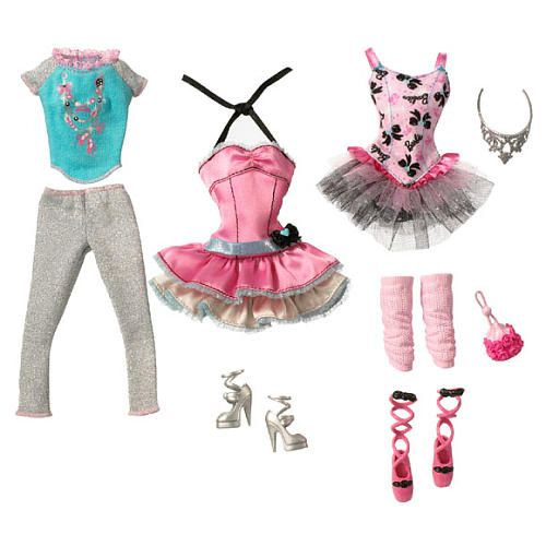"""Barbie Fashion Trend - Ballet Dancer"" set includes 3 ballet-inspired outfits to mix and match!"