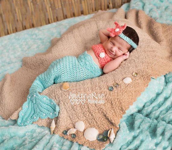 Newborn Pearl Girls Mermaid Tail Photography by 1beautifulhandmade