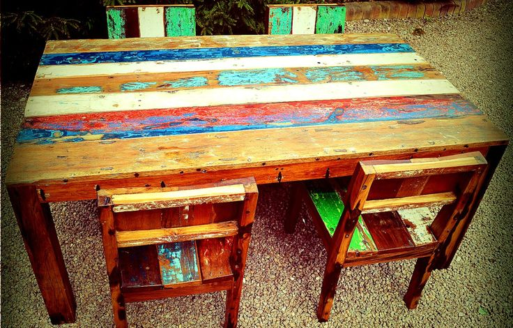 Solid Reclaimed Dining Room Table With 4 x Chairs by PUNKITUP2016 on Etsy