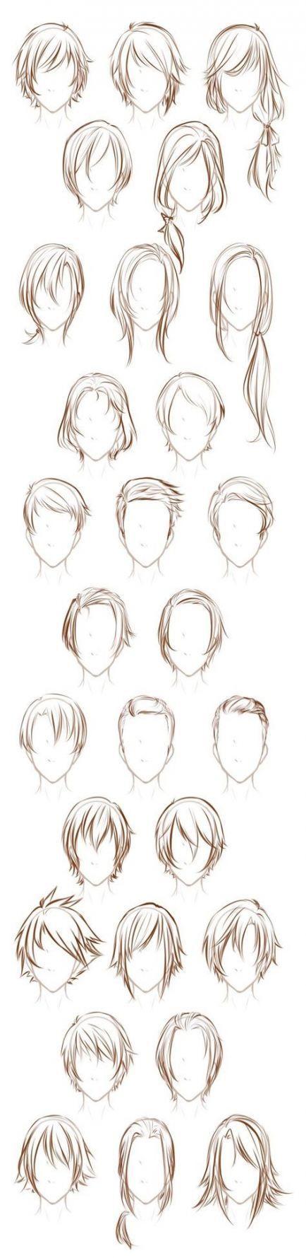 Tutoriel sur les cheveux: Dessin de personnages – Coiffures Anime 66 Idées  – Character Design Hair