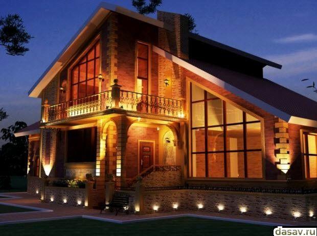 Подсветка дома, в результате красивое освещение