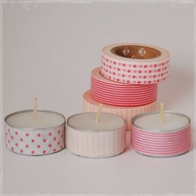 Whasi tape covered tea candles