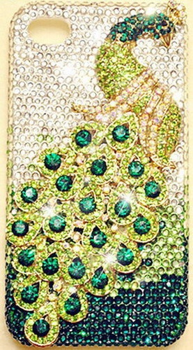 GREEN PEACOCK iPhone 4 & iPhone 4S Case Bling Super HIGH QUALITY Crystals