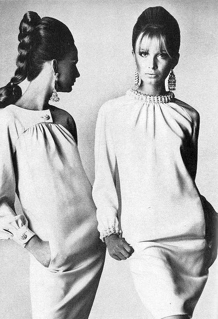 Brigitte Bauer and Sue Murray in dresses by Geoffrey Beene- Irving Penn for Vogue, 1966.