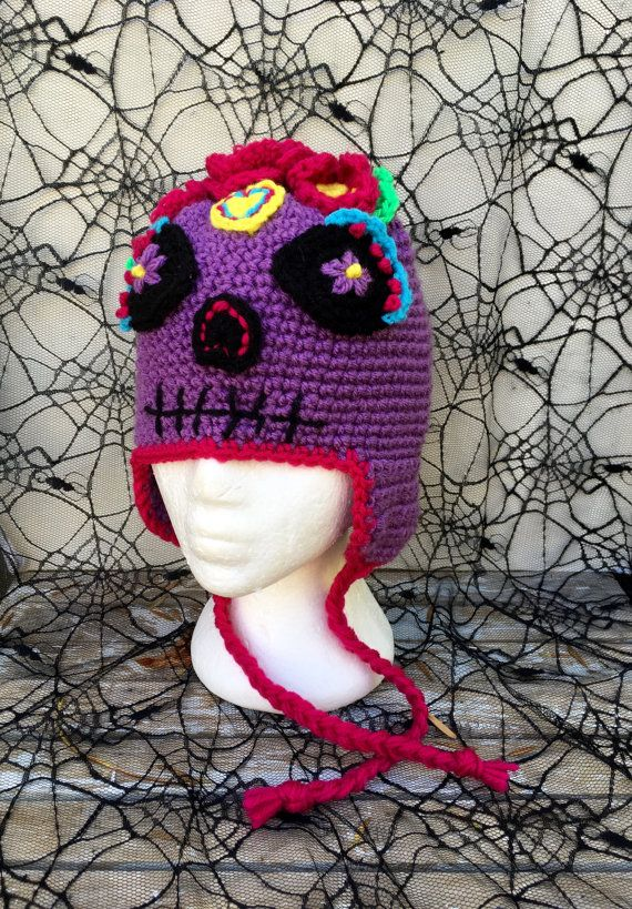 Azúcar cráneo sombrero del ganchillo sombrero del traje día