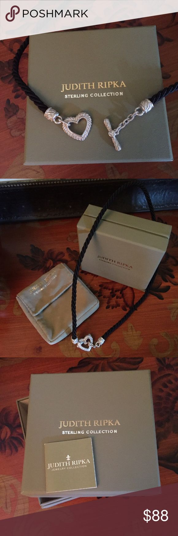 JUDITH RIPKA necklace Authentic Judith Ripka Sterling Silver & Leather Cord…