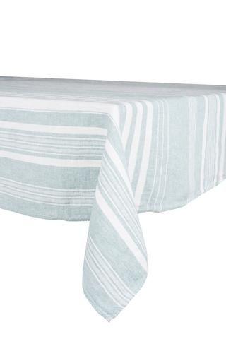 Harmony - Nappe en lin lavé carrée avec rayures St-Remy Celadon - 100% Lin - 170*170 cm