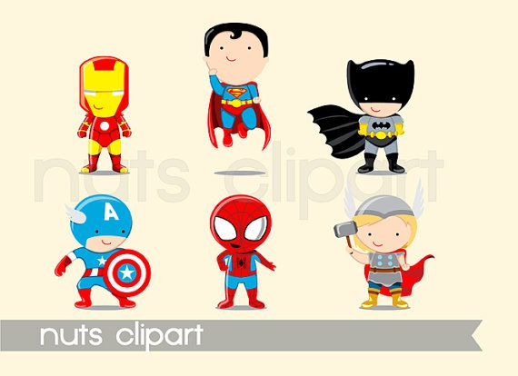 "Superhero Clipart: ""SUPERHERO CLIP ART"" Superheroes clipart pack, Batman, Iron man, Superman, Capitan America, Thor, Spiderman"