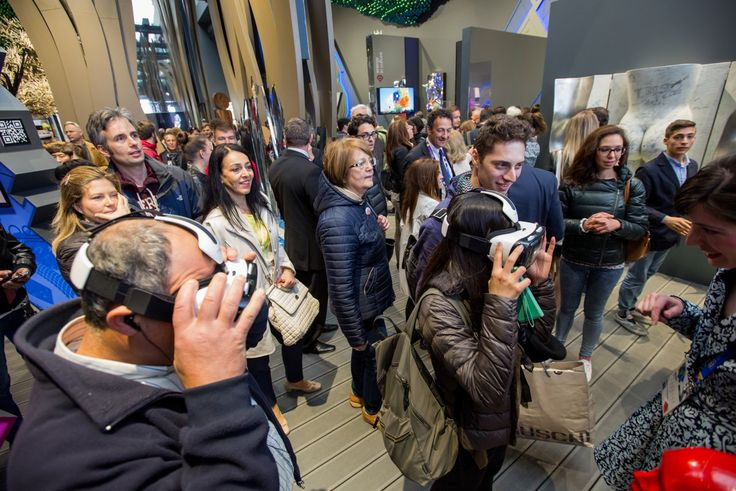 The interior of the Slovak pavilion at the EXPO Milano 2015. Visitors are testing the 3D Samsung glasses powered by Oculus with the 3D animation of Slovakia.