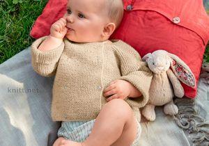Dobbelt-jakke til baby (retstrik)
