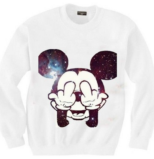 East Knitting SW-111 women's mickey sweatshirts Mitch printed hoodies galaxy pullovers 2014 New free shipping $11.99