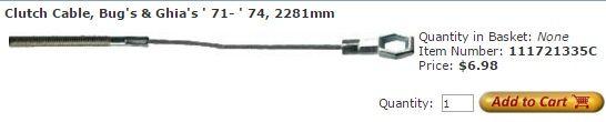 Clutch Cable, Bug's & Ghia's ' 71- ' 74, 2281mm Item Number: 111721335C Price: $6.98 This is your clutch cable on Bug's & Ghia's ' 71- ' 74. It measures 2281mm. #aircooled #combi #1600cc #bug #kombilovers #kombi #vwbug #westfalia #VW #vwlove #vwporn #vwflat4 #vwtype2 #VWCAMPER #vwengine #vwlovers #volkswagen #type1 #type3 #slammed #safariwindow #bus #porsche #vwbug #type2 #23window #wheels #custom #vw #EISPARTS