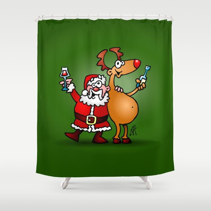 Santa Claus and his Reindeer shower curtain.  #christmas #showercurtain #santa #santaclaus #reindeer #christmasgiftideas #gift #gifts #giftideas #giftidea #xmas #society6 #cardvibes #tekenaartje #SOLD  Customize your bathroom decor with unique shower curtains designed by artists around the world. Made from 100% polyester our designer shower curtains are printed in the USA and feature a 12 button-hole top for simple hanging. The easy care material allows for machine wash and dry maintenance.