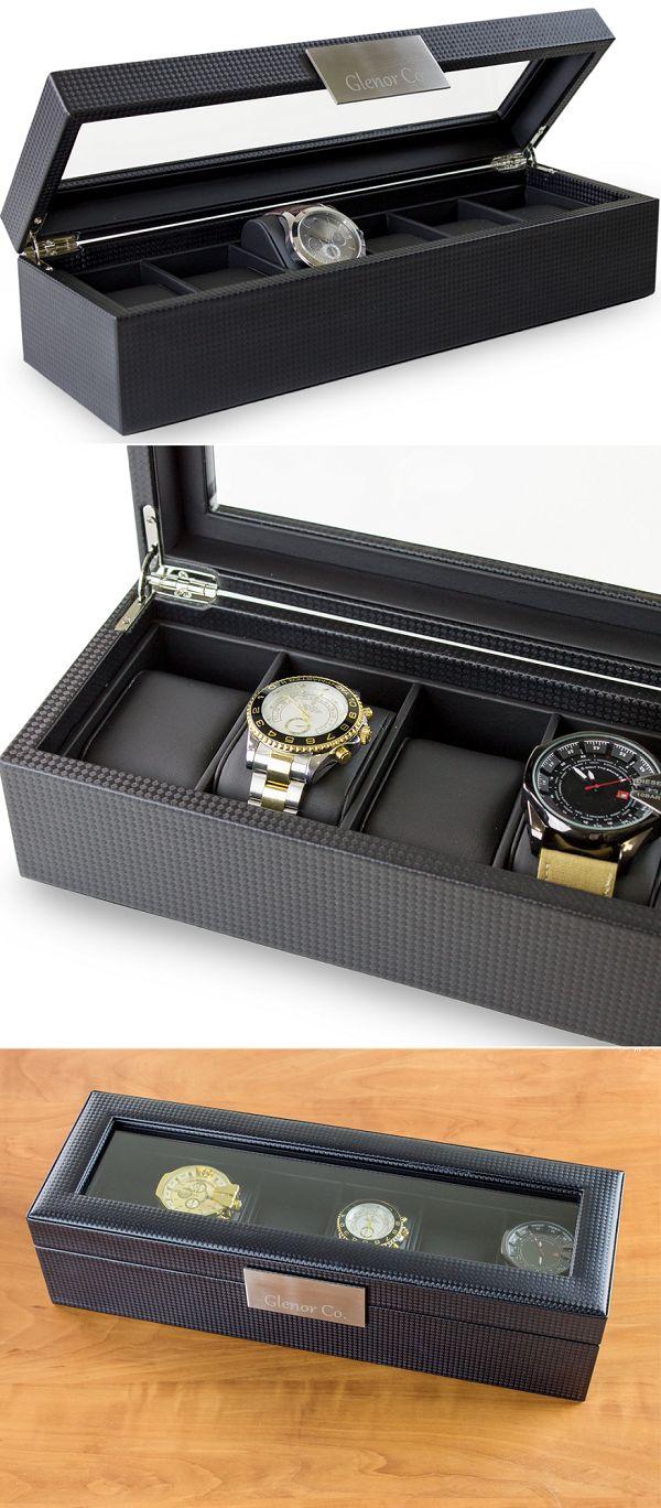 6 Slot Luxury Watch Box for Men - Carbon Fiber Design - Holds large watches https://www.amazon.com/Watch-Case-Men-Organizer-Pillows-/dp/B01BX3PDEU/