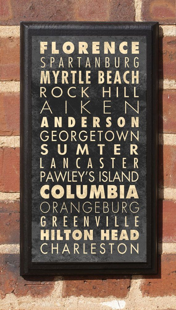 South carolina sc cities wall art sign plaque gift present for Home decor greenville sc