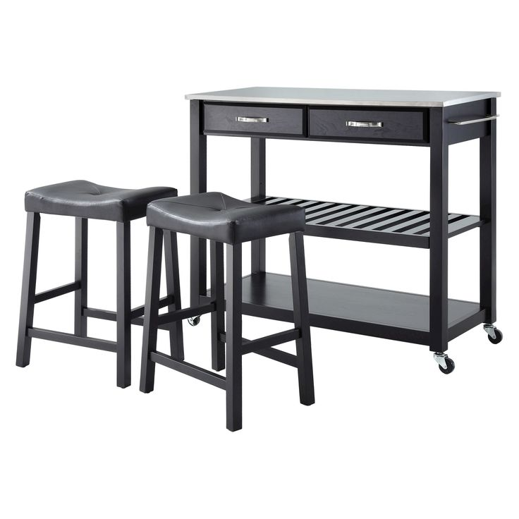 Stainless Steel Top Kitchen Cart/Island - Black With 24 Black Upholstered Saddle Stools - Crosley