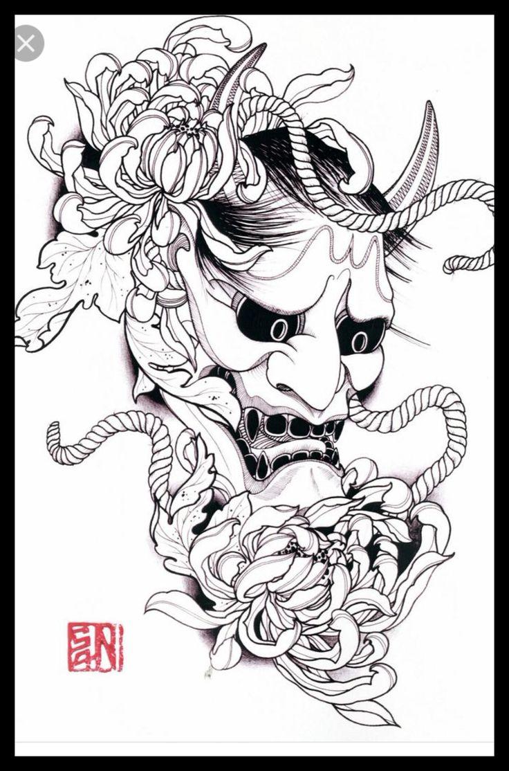 25 b sta id erna om japanese mask tattoo p pinterest samurai tattoo. Black Bedroom Furniture Sets. Home Design Ideas