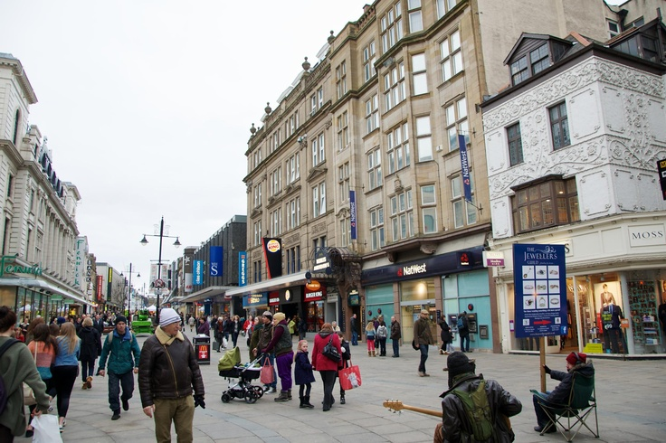 Although almost unrecognisable, this view - February 2013 - is from almost an identical angle. Northumberland Street has been elongated and pedestrianised, however some things still stay the same - Natwest is still in the same location nearly 40 years on.