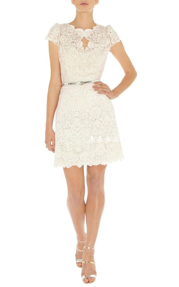 Short Formal Bride Dress/Lace formal dress by heartbunch on Etsy, $195.00 or email us at heartbunch@outlook.com