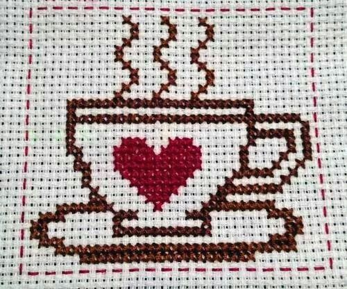 coffee cup cross stitch...