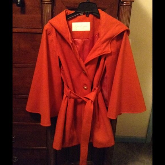 Jessica Simpson Coat Burnt orange new with extra button bag still attached! Never worn!! Beautiful coat just in time for Winter Jessica Simpson Jackets & Coats