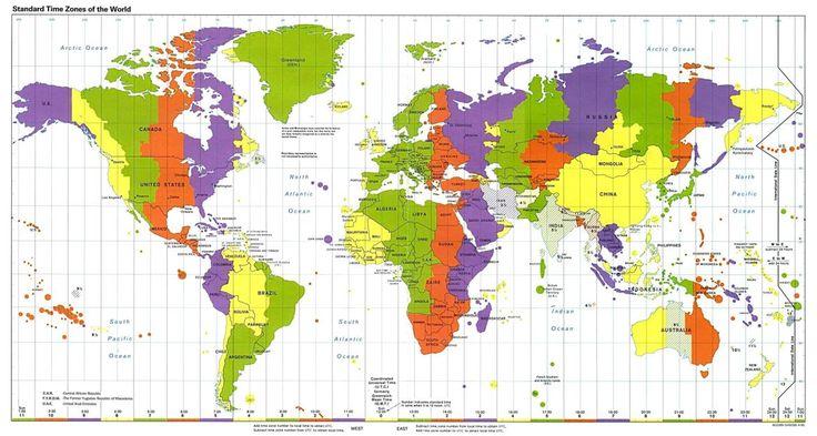 Mapa de husos horarios. ¿Qué hora es en Canarias cuando en Londres son las 13 horas? ¿Qué hora es en Cuba cuando en Canarias son las 23,15 horas? ¿Qué hora es en canarias cuando en La India son las 21, 45 horas?