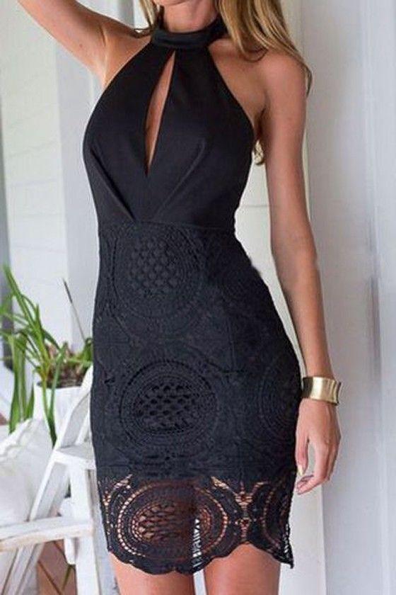 Black Patchwork Lace Hollow-out Chiffon Midi Dress - Midi Dresses - Dresses