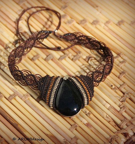 Fibra Girocollo con riflessi dorati OSSIDIANA, cioccolato collana makrame BROWN con la pietra