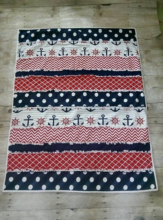 Nautical baby boy rag quilt  nautical minky by CassisBabyCakes