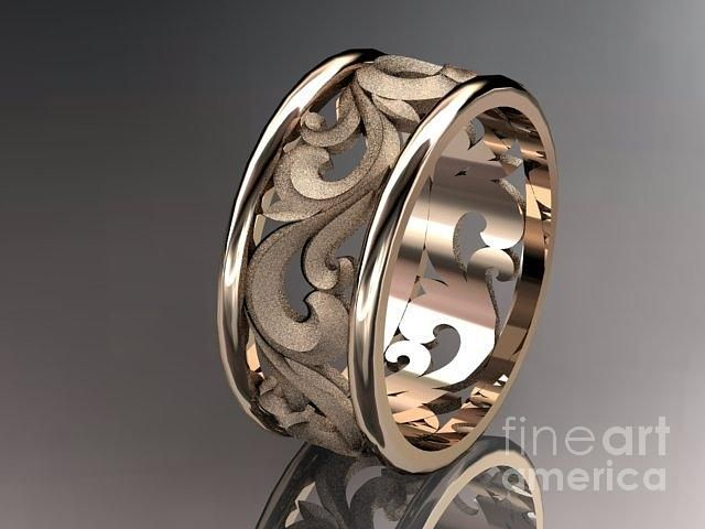 Rose Gold Diamond Leaf And Vine Wedding Ring Engagement Ring Wedding Band Jewelry ...soooo in love with this ring