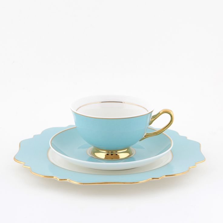 Pale #Blue #250mL #Teacup and #Saucer #Set with #Pale Blue #Sideplate | The #elegant, #stylish #teacup. #Mix'n'match with our other #colours! Get #inspired at lyndalt.com