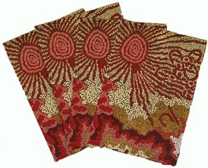 Aboriginal design Wrapping Paper Better World Arts Damien & Yilpi Marks Family & Country Size:  67cm x 50cm Code:  WRAP-BWA/DYM $2.50 each