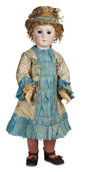 The Well-Bred Doll: 54 Bebe Triste by Emile Jumeau in Couturier Silk Costume with Signed Jumeau Shoes