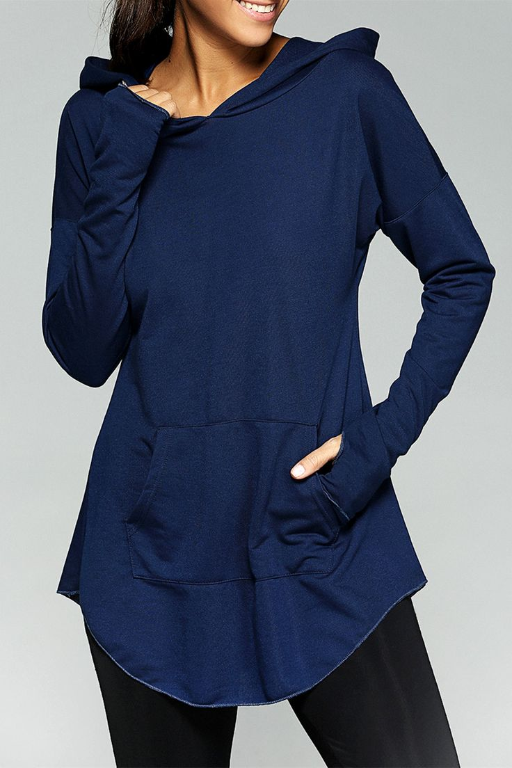 $13.58 Loose-Fitting Front Pocket Thumb Hole Hoodie