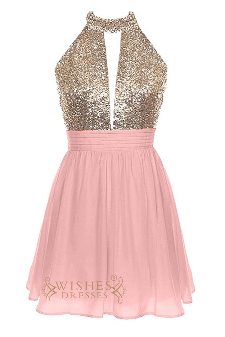 Strapless homecomingdress with keyhole gold sequins bodice and halter top while the back with sexy open back. Floorlength is available,Pleasecontact us if yo